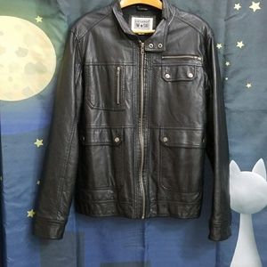 Converse One Star Black Faux Leather Coat
